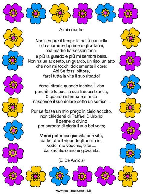 w la mamma testo poesia a madre di de amicis mamma e bambini