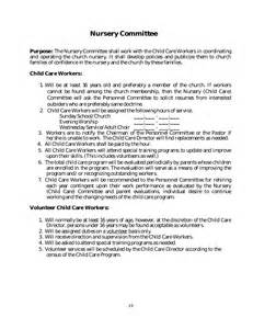 Volunteer Policy And Procedures Template by Policy And Procedure Manual Church Sle