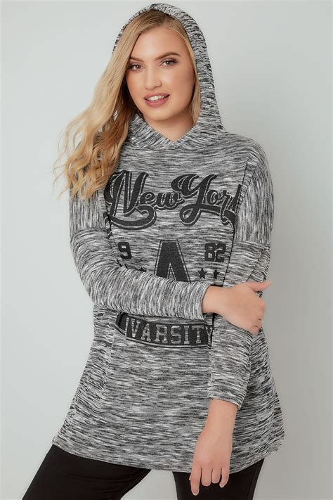 Hoodie Vli Black Logo grey knit new york varsity hooded jumper plus size