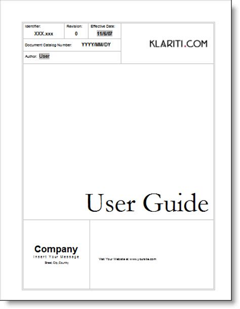 manual cover template user guide templates forms and checklists technical