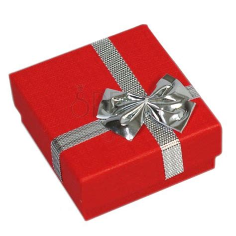 Present box for rings   red colour, silver bow   Jewellery