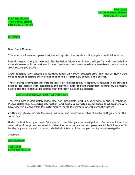 Credit Report Dispute Letter