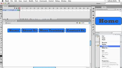 button tutorial in flash adobe flash cs6 tutorial applying an action to a button