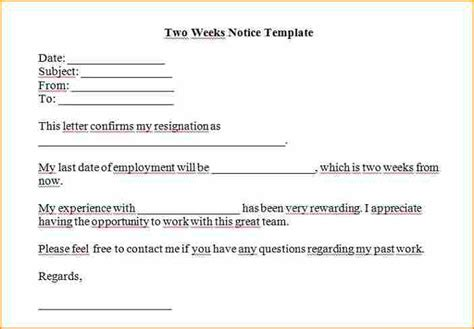 2 week notice template word   Basic Job Appication Letter