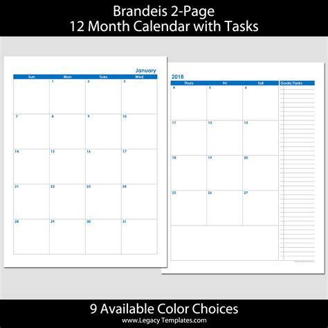 month page calendar legacy templates