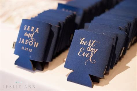 """Blue and gold koozies for the guest that say """"Best Day"""