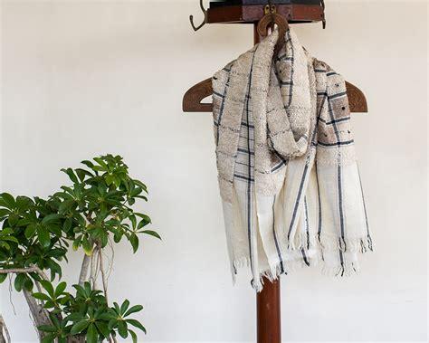 Pashmina Arabia Limited pashmina wool scarf knit with black checks kop 225 i paar indian craft store