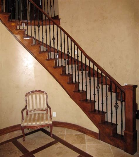 iron banister wood railing with wrought iron balusters traditional