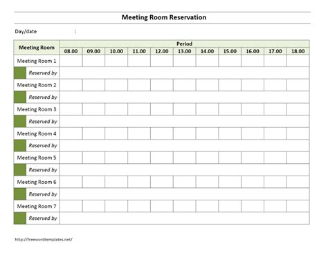 Meeting Room Reservation Form Reservation Calendar Template