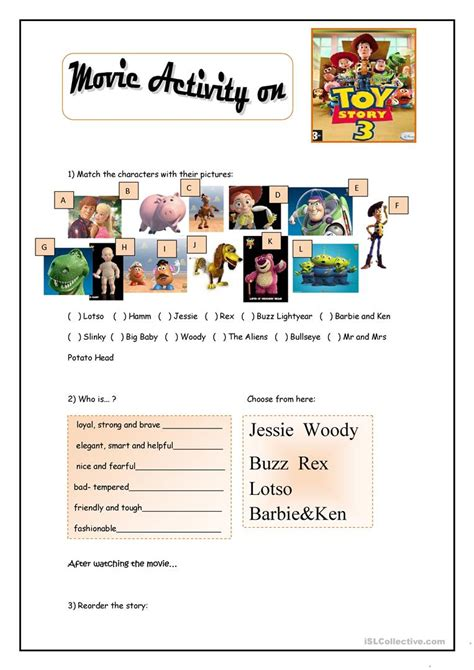 toy story printable activity sheets toy story movie activity worksheet free esl printable