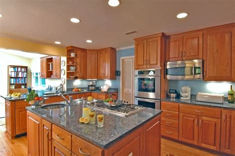 blue kitchen with oak cabinets bright blue walls with honey cabinets kitchen dining