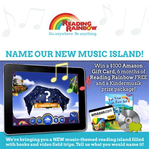 Rainbow Sweepstakes - help us name our new reading rainbow music island and win minds on music