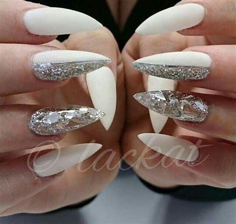 Silber Nägel by White And Silver Glitter Gel Nails Nails