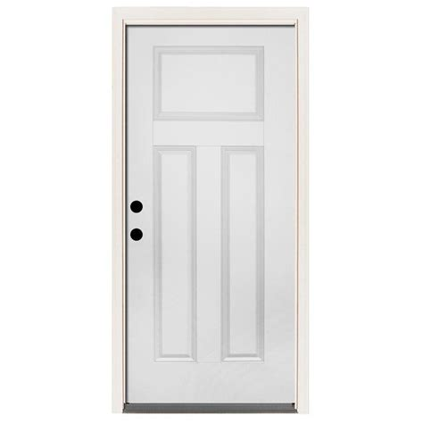 Steves Sons 36 In X 80 In Premium 3 Panel Primed White Front Steel Doors