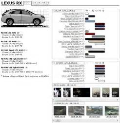 lexus rx 3rd color chart and brochure archive