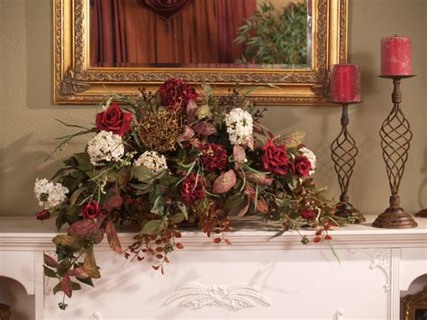 floral arrangements for home decor roses and snowball ledge design silk flower arrangement
