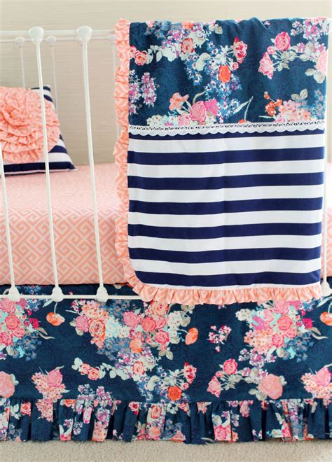 Navy Crib Bedding Sets Blush And Navy Nursery Bedding Navy Floral Blush Crib Set Lottie Da