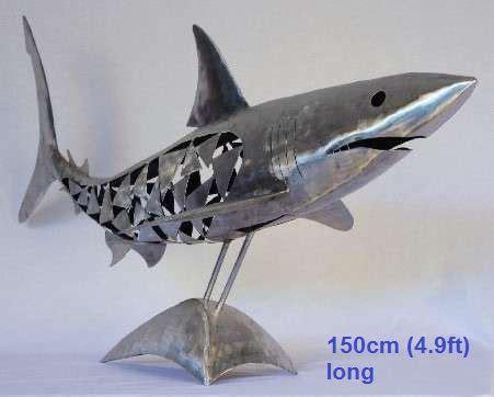 metal shark sculpture life size scrap metal art for sale