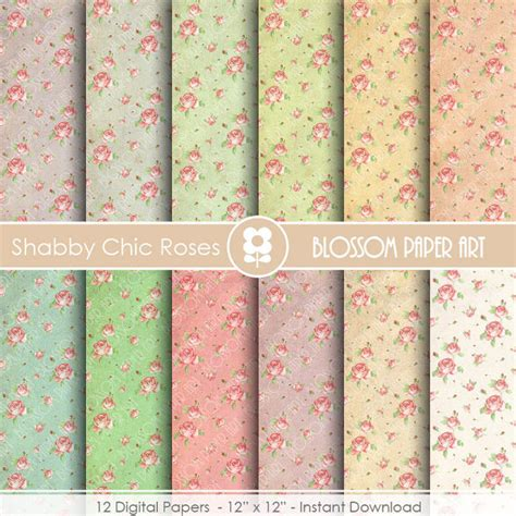 shabby chic digital papers shaby chic scrapbook digital