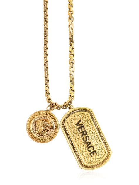 Kalung Fashion Choker Forever21 Letter A Pendant Layer lyst versace logo tag pendant on chain necklace in metallic