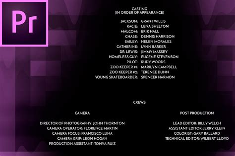 Credit Roll Template Create Smooth Beautiful Rolling Credits In Premiere Pro Cc