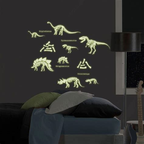 wall stickers glow in the 17 25 in x 9 75 in 24 dinosaurs glow in the wall decal ms0102 the home depot