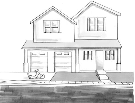 house drawings how to draw a house in 2 point perspective narrated