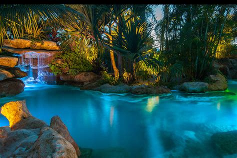 palm island lagoon with florida limestone and waterfalls
