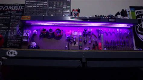 work bench lights under shelf work bench rgb led strip lighting youtube