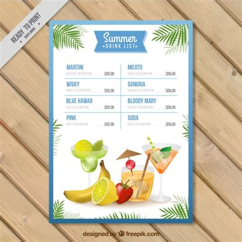 Watercolor Summer Drink List Template Vector Free Download Drink List Template