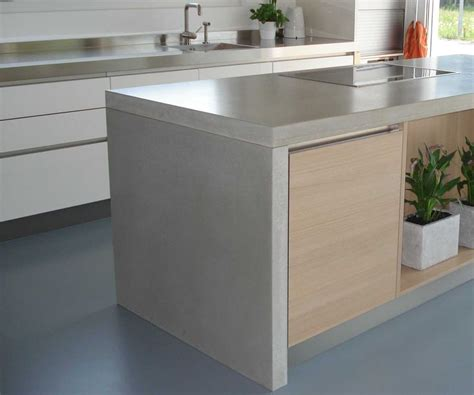 Kitchen Cabinet Concrete Table Top Concrete Countertop On Island Waterfall Style Kent Is Us One Kitchen