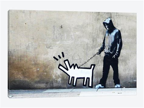 Modern Farmhouse Art by Banksy Choose Your Weapon Keith Haring Dog Canvas Art
