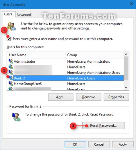 resetting windows user password reset password of user account in windows 10 windows 10