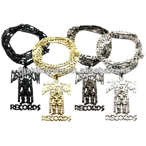 Row Records Chain Row Records Inspired Iced Out Hip Hop Pendant Necklace 24 Quot Figaro Chain Buy