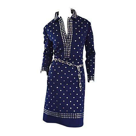 donald navy blue silver studded vintage dress w