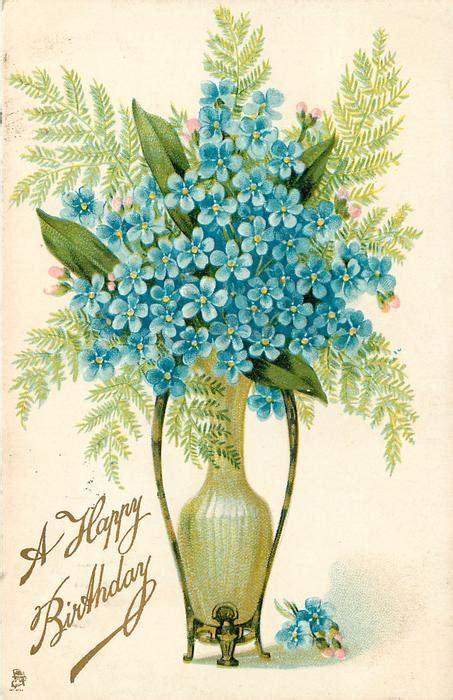 happy birthday forget  nots  vase    love   love tuckdb postcards
