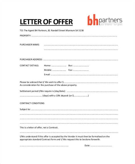 business letter template offer property offer letter templates 7 free word pdf format