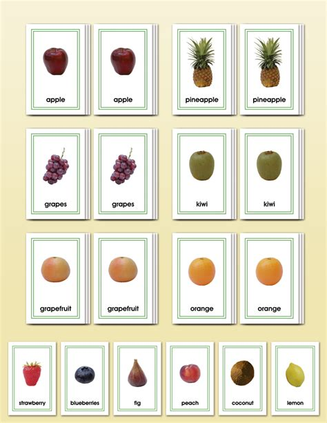 picture cards picture card matching fruits montessori research