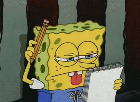 spongebob writing paper homework thinking gif homework thinking writing
