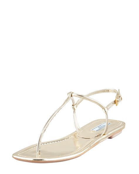 prada sandals prada flat metallic leather sandal gol in beige