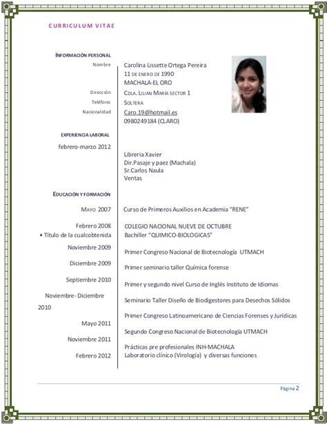 Modelo De Curriculum Vitae Experiencia Ni Estudios portafolio completo