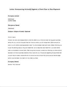 letter announcing action(s) against a client due to non