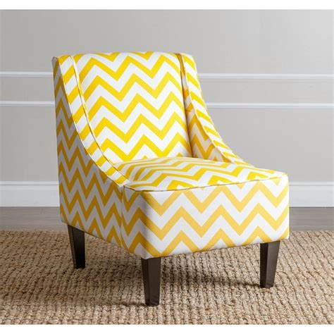 Chevron Accent Chair Carlton Chevron Print Fabric Accent Chair In Yellow Br C72 Ylwchev