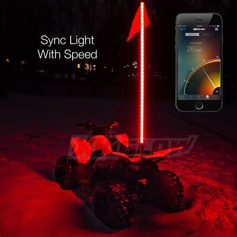 led light whip for atv 2x whip xkchrome advanced app control led whip light kit