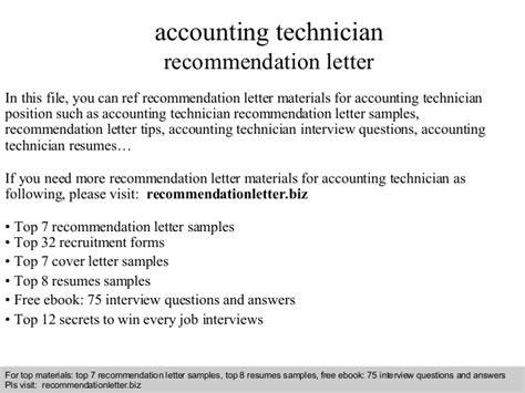 Recommendation Letter For X Technician accounting technician recommendation letter