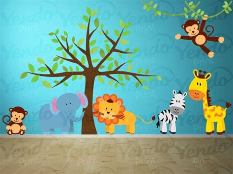 wall stickers jungle theme wall decal jungle decal jungle wall decal wall decals set giraffe elephant monkey