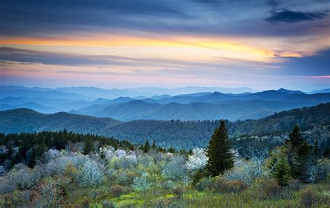 nc blue ridge parkway landscape in blue hour