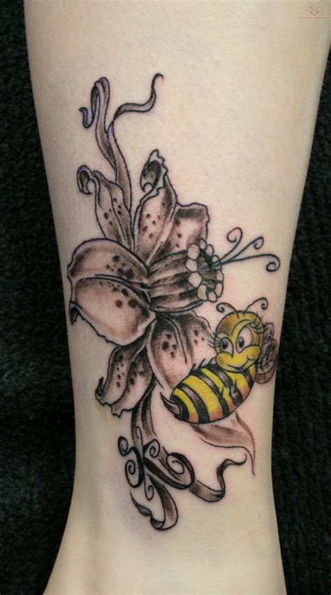 flower tattoo designs on leg 55 bees and flowers tattoos