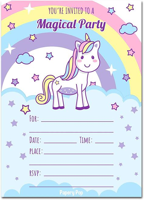 Unicorn Birthday Party Printed Invitations Birthday Wikii Unicorn Invitations Free Template