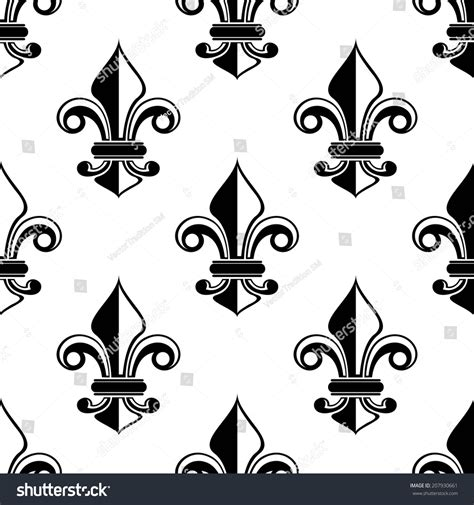 pattern repeat in french classical french black white fleurdelis seamless stock